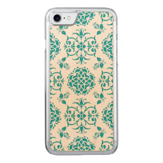 Aqua and White Floral Damask Pattern Carved iPhone 8/7 Case
