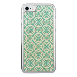 Aqua and White Geometric Design Pattern Carved iPhone 8/7 Case