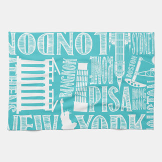 Aqua and White Metropolitan Cities Tea Towel