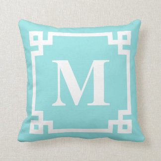 Aqua and White Modern Greek Key Border Monogram Cushion
