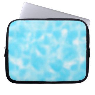 Aqua and White Mottled Laptop Sleeve