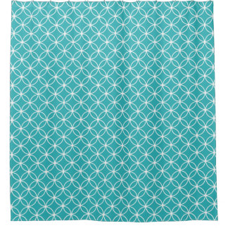 Aqua and White Overlapping Circles Pattern Shower Curtain