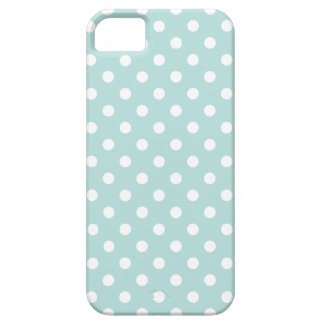Aqua and White Polka Dot Pattern iPhone 5 Cover