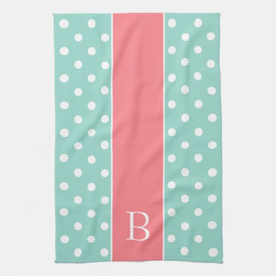 Aqua and White Polka Dot With Coral Pink