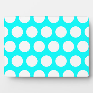Aqua and White Polka Dots Plaque