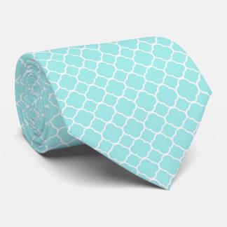 Aqua and White quatrefoil Tie