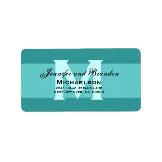 Aqua and White - Simple and Elegant Personalized Label