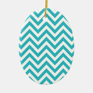 Aqua and White Zigzag Pattern Chevron Christmas Ornament