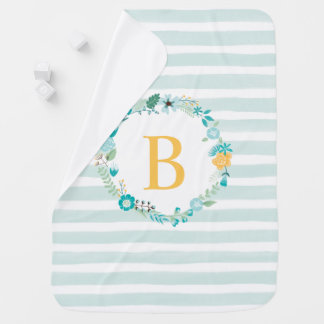 Aqua and Yellow Floral Monogram Receiving Blankets