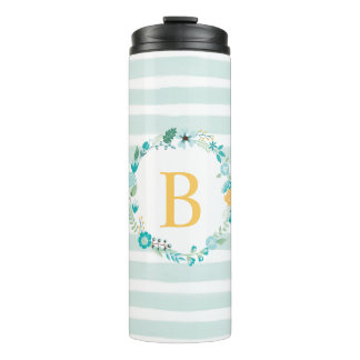 Aqua and Yellow Floral Monogram Thermal Tumbler