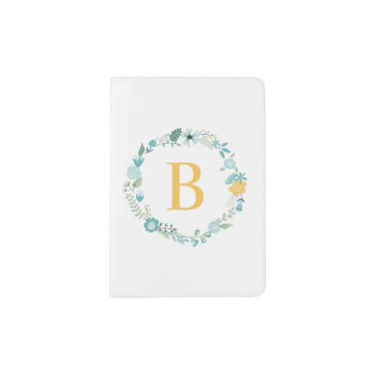 Aqua and Yellow Floral Wreath Monogram Passport Holder