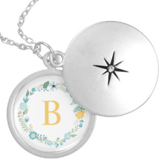 Aqua and Yellow Monogrammed Floral Wreath Locket Necklace