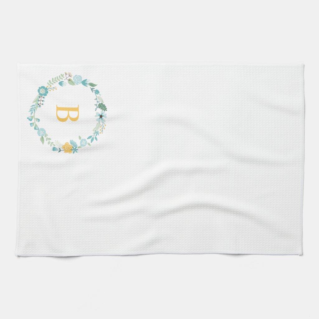 Monogrammed Floral Tea Towel