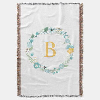 Aqua and Yellow Monogrammed Floral Wreath Throw Blanket