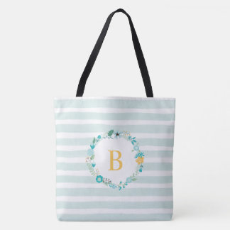 Aqua and Yellow Monogrammed Floral Wreath Tote Bag