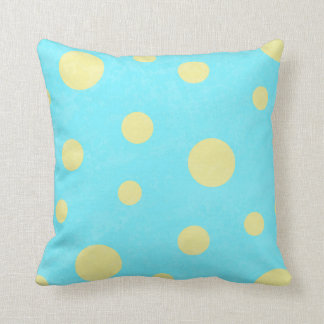 Aqua and yellow polka dot pattern cushion