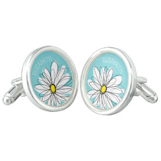Aqua and Yellow Whimsical Daisy Custom Text Cuff Links