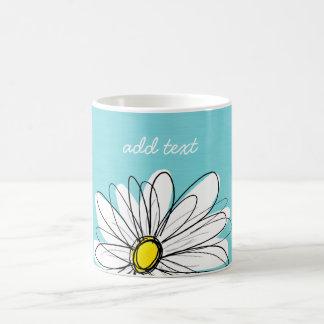 Aqua and Yellow Whimsical Daisy Custom Text Basic White Mug