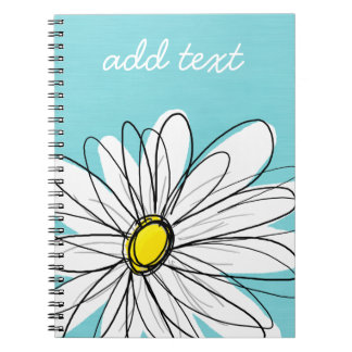 Aqua and Yellow Whimsical Daisy Custom Text Notebooks