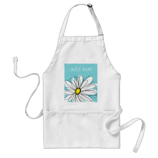 Aqua and Yellow Whimsical Daisy Custom Text Standard Apron