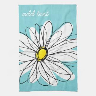 Aqua and Yellow Whimsical Daisy Custom Text Tea Towel