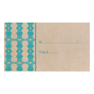 Aqua Art Deco Border Place Card Business Cards