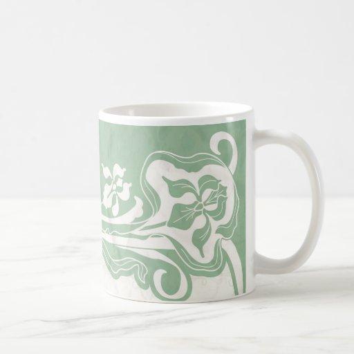 Aqua art deco paper coffee mug