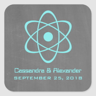 Aqua Atomic Chalkboard Wedding Stickers
