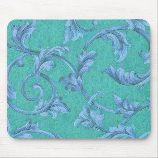 Aqua Background Blue Acanthus Vine Mouse Pad