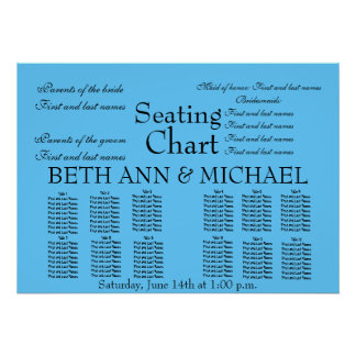 Aqua Beach Romantic Elegant  Wedding Seating Chart Poster