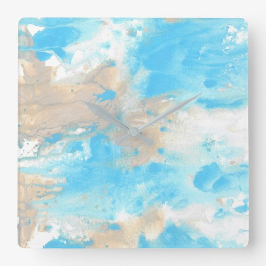 Aqua Beige Abstract Square Wall Clock