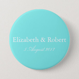 Aqua Belle Aqua Blue and White Text Wedding 7.5 Cm Round Badge