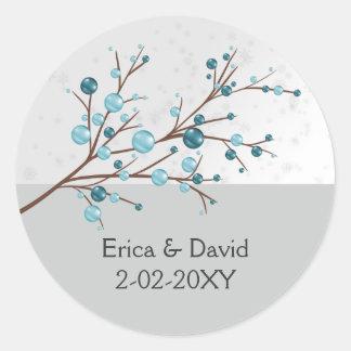 aqua berries  winter wedding favor stickers