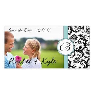 Aqua & Black Damask Save the Date Your Photo Photo Greeting Card