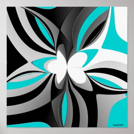 Aqua Black Grey Abstract Poster