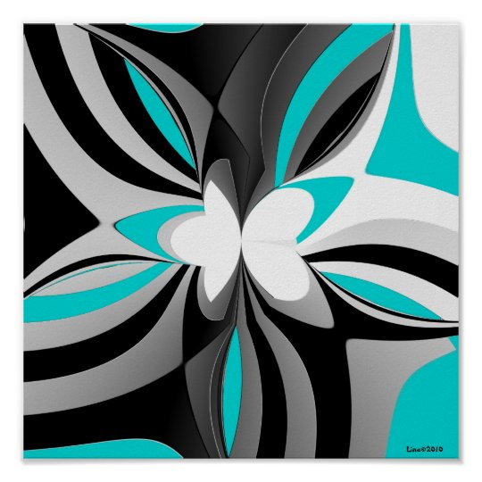 Aqua Black Grey Abstract Poster