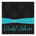 Aqua Black Grey Damask Stripe Bridal Shower Invite