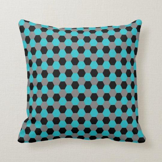 Aqua Black Grey Hexagons Pillow