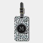 Aqua Black Leopard Animal Print with Monogram Luggage Tag