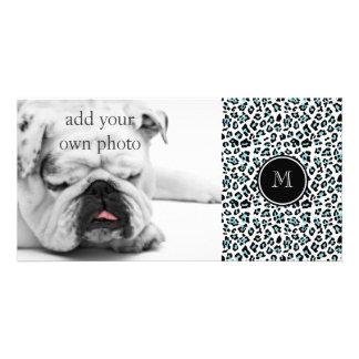 Aqua Black Leopard Animal Print with Monogram Picture Card