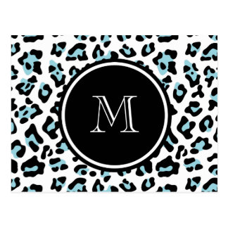 Aqua Black Leopard Animal Print with Monogram Postcard