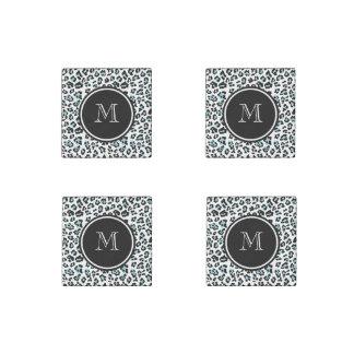 Aqua Black Leopard Animal Print with Monogram Stone Magnet
