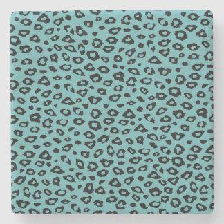 Aqua Black Leopard Print Stone Coaster
