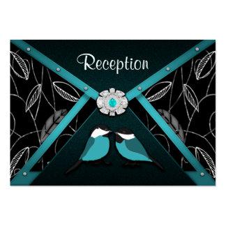 Aqua & Black Love Birds Wedding Reception Cards Business Card Templates