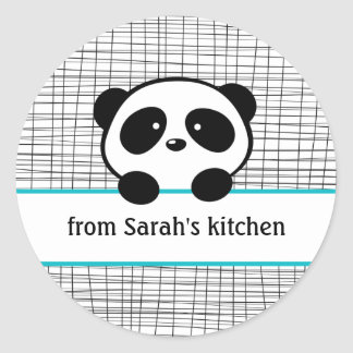 Aqua Black Panda Bear Canning Stickers