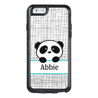 Aqua Black Panda Bear Personalized Animal Kids OtterBox iPhone 6/6s Case