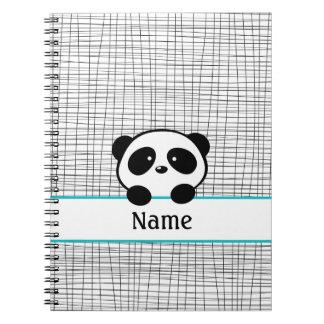 Aqua Black Personalized Panda Notebook