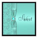Aqua, Black PRINTED RIBBON Sweet Sixteen Invite 13 Cm X 13 Cm Square Invitation Card