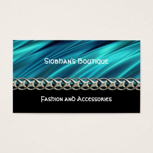 Aqua, black & silver chain business card