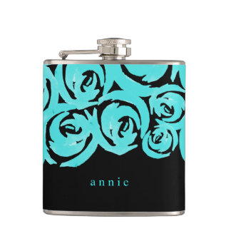 Aqua & Black Watercolor Roses Flasks